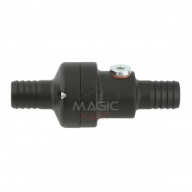 55°C Inline Thermostat with position for temperature sensor, Black anodized
