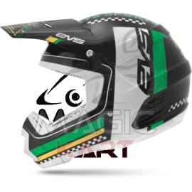 EVS CASQUE T5 RALLY BLACK / WHITE / GREEN