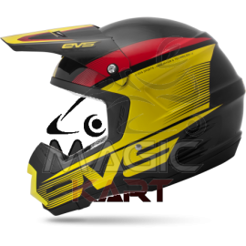 EVS CASQUE T5 VAPOR / BLACK / YELLOW / RED