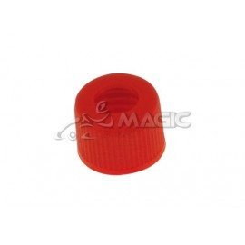 Small drilled plug for fuel tank Red