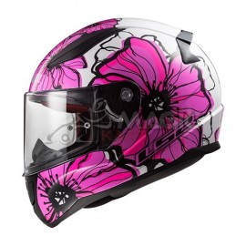 casque LS2 POPPIES blanc/rose